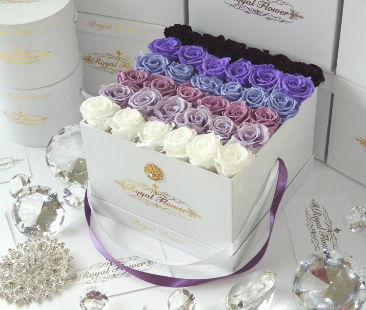 Ombr 233 Square Box Roses Last 1 Year Royal Flower